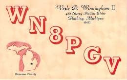 Amateur Radio QSL - WN8PGV - Flushing, MI -USA- 1974 - 2 Scans - Radio Amateur