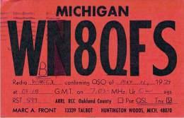 Amateur Radio QSL - WB8QFS - Huntington Woods, MI -USA- 1974 - 2 Scans - Radio Amateur
