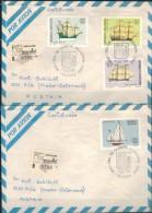 ARGENTINIEN 1979 - 2x Luftpost Rekobrief Mit  ET SStmp. 1405-1408 Komplett - Argentinien