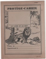 PROTÈGE-CAHIER - Ancien Avec Agrafes - Thème FABLE - Le Lion Et Le Rat - Illustrateur DUTE - Animaux