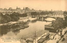 PARIS PANORAMA DE LA SEINE MUSEE DU LOUVRE PENICHES - Die Seine Und Ihre Ufer