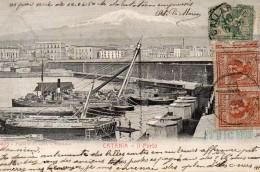 CARTOLINA DI CATANIA IL PORTO COM'ERA FINE 800 VIAGGIATA NEL 1903  SUPER!!! - Catania