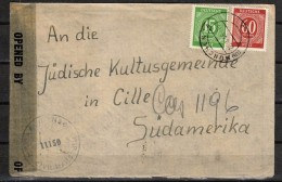 GERMANY (JUDAICA) Cover Addressed To The Jewish Cultural Center In Chile. From US Zone. Censor Tape - Gemeinschaftsausgaben