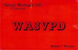 Amateur Radio QSL - WA8VPD - Detroit, MI -USA- 1974  - 2 Scans (2 Slight Rips On Edges) - Radio Amateur