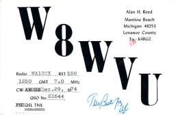 Amateur Radio QSL - W8WVU - Manitou Beach, MI -USA- 1974 - 2 Scans - Radio Amateur