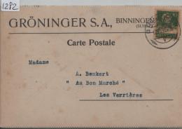 1923 Tell 153 - Carte Postale - Cachet: Binningen - Gröninger S.A. Aluminium & Metallwarenfabrik - Schweiz