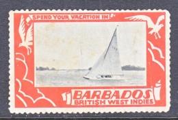 BARBADOS  TOURISM  VINGETTE   SAIL  BOAT  1940's - Barbados (...-1966)