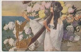 RISQUE, LESBIAN INTEREST, ART NOUVEAU, S. HRUBY, SAPHO, POETESS WITH HARP, NM Cond.  PC, Unused 1910s - Künstlerkarten