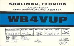 Amateur Radio QSL - WB4VUP - Shalimar, FL -USA- 1974 - 2 Scans - Radio Amateur
