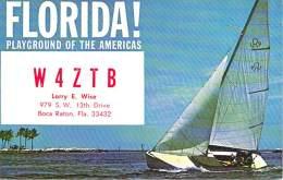 Amateur Radio QSL - W4ZTB - Boca Raton, FL -USA- 1974 - 2 Scans - Radio Amateur