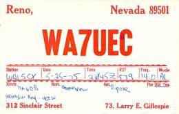 Amateur Radio QSL - WA7UEC - Reno, NV -USA- 1975 - 2 Scans - Radio Amateur