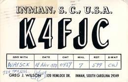 Amateur Radio QSL - K4FJC - Inman, SC -USA- 1973 - 2 Scans - Radio Amateur