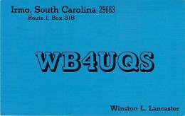 Amateur Radio QSL - WB4UQA - Irmo, SC -USA- 1974 - 2 Scans - Radio Amateur