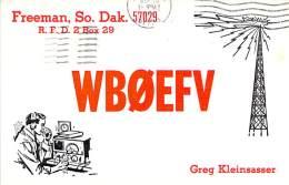 Amateur Radio QSL - WB0EFV - Freeman, SD -USA- 1974 - 2 Scans - Radio Amateur