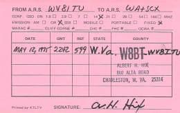 Amateur Radio QSL - WV8ITU / W8BT - Charleston, WV -USA- 1975 - 2 Scans - Radio Amateur