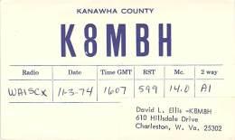 Amateur Radio QSL - K8MBH - Charleston, WV -USA- 1974 - 2 Scans - Radio Amateur