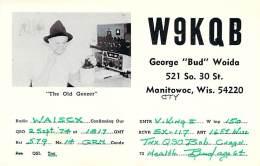 Amateur Radio QSL - W9KQB - Manitowoc, WI -USA- 1974 - 2 Scans - Radio Amateur