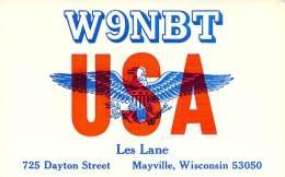 Amateur Radio QSL - W9NBT - Mayville, WI -USA- 1974 - 2 Scans - Radio Amateur
