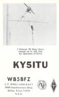 Amateur Radio QSL - KY5ITU - Dallas, TX -USA- 1974 World Telecom Day - 2 Scans - Radio Amateur