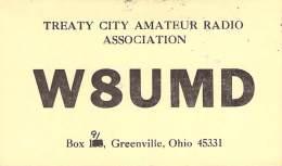 Amateur Radio QSL - W8UMD - Treaty City Radio Association - Greenville, OH -USA- 1974 - 2 Scans - Radio Amateur