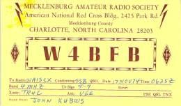 Amateur Radio QSL - W4BFB Mecklenburg Radio Society - Charlotte, NC -USA- 1974 - 2 Scans - Radio Amateur