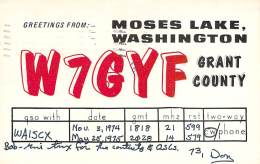 Amateur Radio QSL - W7GYF - Moses Lake, WA -USA- 1974 & 1975 (2 QSOs) - 2 Scans - Radio Amateur