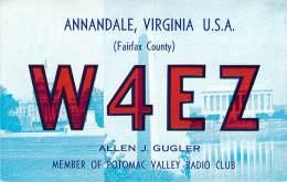 Amateur Radio QSL - W4EZ - Annandale, VA -USA- 1974 - 2 Scans - Radio Amateur