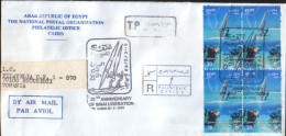 Egypt - Registered Letter Circulated In 2002 To Romania - Sport - Wind-surfer , Diving