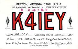 Amateur Radio QSL - AD4IEY / K4IEY - Reston, VA -USA- 1976 - 2 Scans - Radio Amateur