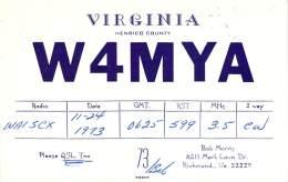 Amateur Radio QSL - W4MYA - Richmond, VA -USA- 1973 - 2 Scans - Radio Amateur