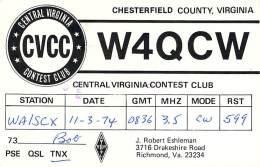 Amateur Radio QSL - W4QCW - Richmond, VA -USA- 1974 - 2 Scans - Radio Amateur