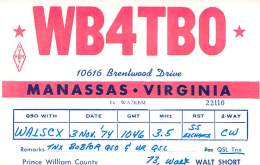 Amateur Radio QSL - WB4TBO - Manassas, VA -USA- 1974 - Radio Amateur
