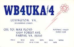 Amateur Radio QSL - WB4UKA/4 Potomac Valley Radio Club - Lexington, VA -USA- 1974 - 2 Scans - Radio Amateur