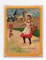 CHROMO Biscuits Huntley & Palmers H & P Rondes Enfantines Chanson Ah! Mon Beau Chateau Fille Panier En Osier - Non Classés