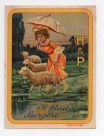 CHROMO Biscuits Huntley & Palmers H & P Rondes Enfantines Chanson Il Pleut Bergère Moutons - Non Classés