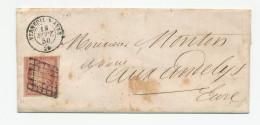 382DT -- Lettre TP Cérès 1 Franc ( Nuance Terne) Annulé Grille - VERNEUIL Sur AVRE 1850 Vers LES ANDELYS - 1849-1850 Ceres