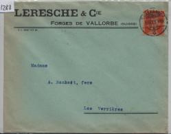 1925 Tellknabe 152 - Cachet: Vallorbe Nach Verrieres - Leresche & Cie Forges De Vallorbe (Suisse) - Suiza