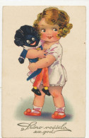 AGNES RICHARDSON, LITTLE GIRL WITH GOLLIWOGG DOLL, EX Cond. PC,  Mailed 1936 - Illustrators & Photographers