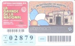 BICENTENARIO DE LA INDEPENDENCIA ARGENTINA - BILLETE DE LOTERIA - LOTTERY TICKET REPUBLICA  ARGENTINA - Billetes De Lotería