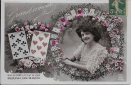 CPA Jeu De Cartes Carte à Jouer Chiromancie Cartomancie Circulé - Cartes à Jouer