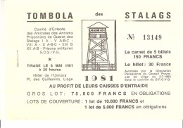 """Carnet De """"Tombola Des Stalags""""-1981-Stalag-Amicale Anciens Prisonniers De Guerre Des Stalags I A-V A...; Complet-Liège - Lotterielose"""