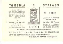 "Carnet De ""Tombola Des Stalags""-1981-Stalag-Amicale Anciens Prisonniers De Guerre Des Stalags I A-V A...; Complet-Liège - Biglietti Della Lotteria"
