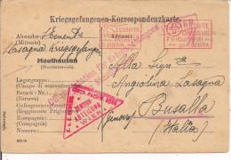 PRIGIONIERI DI GUERRA ITALIANI-STAMMLAGER MAUTHAUSEN-AUSTRIA-1916-TIMBRO FRANCHIGIA,PER BUSALLA,GENOVA - 1914-18
