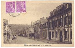 Cpa Fleury Sur Andelle - La Grande Rue ( Pompe à Essence à Gauche, Gendarmerie à Droite ) - France