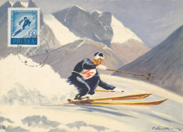 D24954 CARTE MAXIMUM CARD 1959 POLAND - SKIING DOWNHILL CP ORIGINAL - Skiing
