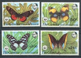 171 GAMBIE 1980 - Yvert 403/06 - WWF Papillon - Neuf ** (MNH) Sans Trace De Charniere - Gambie (1965-...)