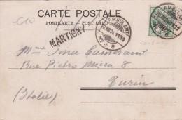 SUISSE 1904 CARTE POSTALE AVEC CACHET LINEAIRE  MARTIGNY - 1882-1906 Wapenschilden, Staande Helvetia & UPU