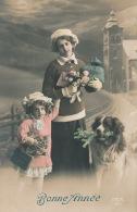 """ENFANTS - DOG - Jolie Carte Fantaisie Portrait Femme Fillette Et Chien De """"Bonne Année"""" - Chiens"""