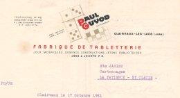 Facture Fabrique De Tabletterie, Jeux & Jouets Paul Guyot à Clairvaux-les-Lacs Dans La Jura  En...1951 - Frankrijk