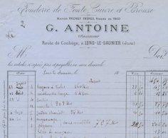 """Facture Fonderie De Fonte Cuivre & Bronze """"G.Antoine """"route De Conliège à Lons- Le -Saunier - Frankrijk"""